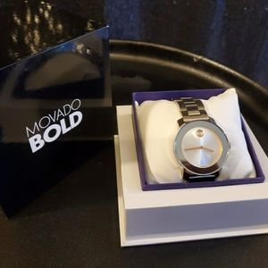 Movado Bold Silver & Rose Gold Watch